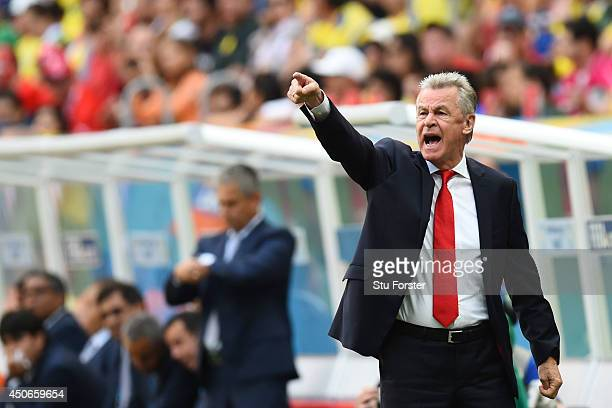 Ottmar Hitzfeld of Switzerland gestures during the 2014 FIFA World Cup Brazil Group E match between Switzerland and Ecuador at Estadio Nacional on...