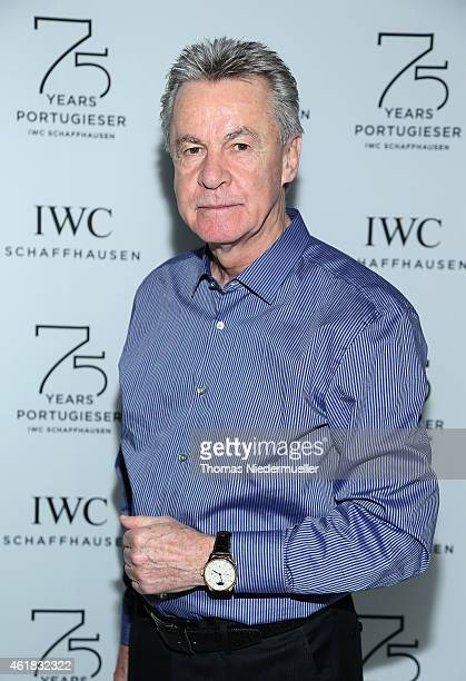 Ottmar Hitzfeld visits the IWC booth during the Salon International de la Haute Horlogerie 2015 at the Palexpo on January 20 2015 in Geneva...