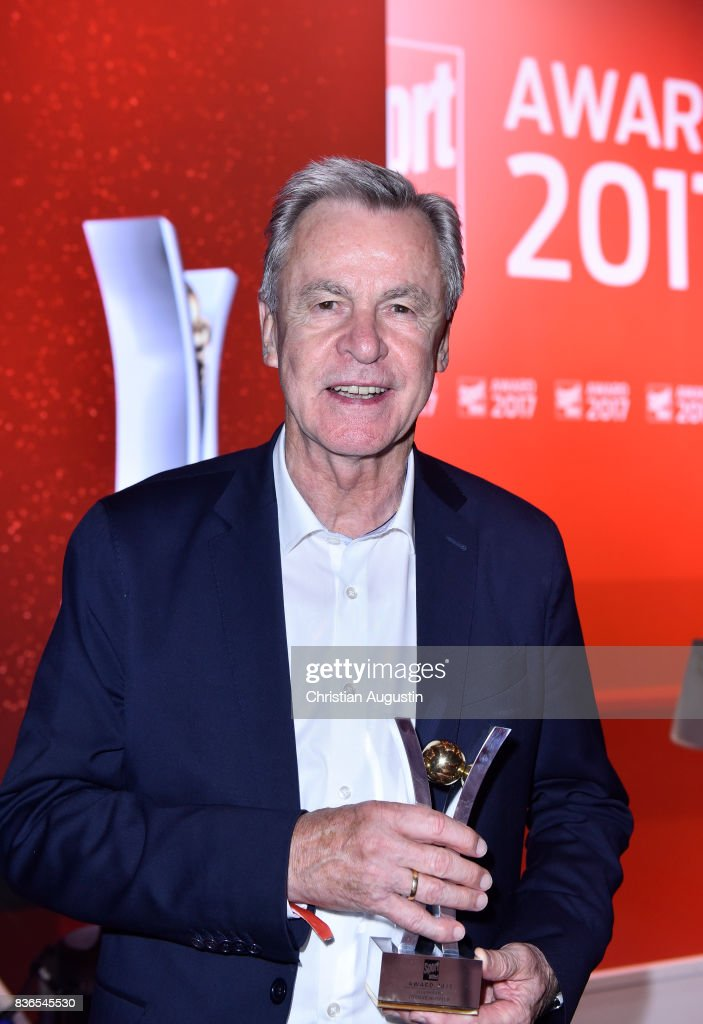 Ottmar Hitzfeld wins the Lifetime Achievement award during the Sport Bild Award at the Fischauktionshalle on August 21, 2017 in Hamburg, Germany.