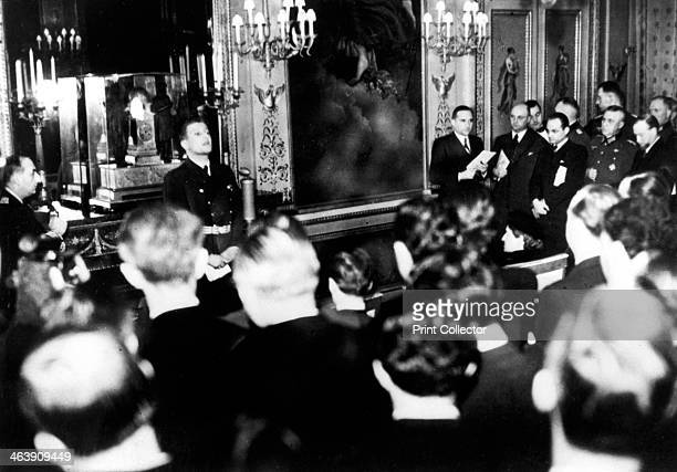 Otto Abetz, German ambassador to France, holding a press conference, Paris, 15 December 1940. He is speaking on the subject of the transfer of the...