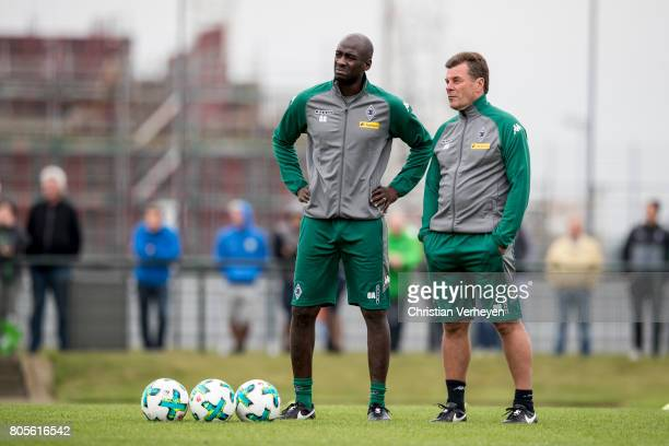 Otto Addo and Head Coach Dieter Hecking during a training session of Borussia Moenchengladbach at BorussiaPark on July 02 2017 in Moenchengladbach...
