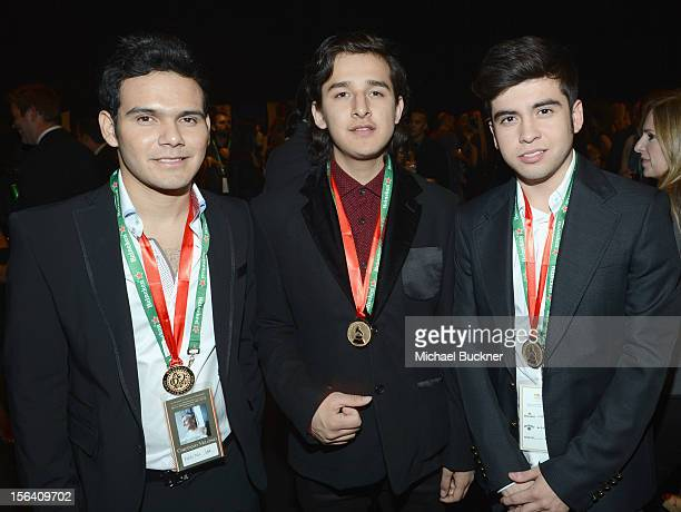 DJ Otto Erick Rincon and DJ Sheeqo Beat of 3 Ball Monterrey pose during the 2012 Person of the Year honoring Caetano Veloso at the MGM Grand Garden...