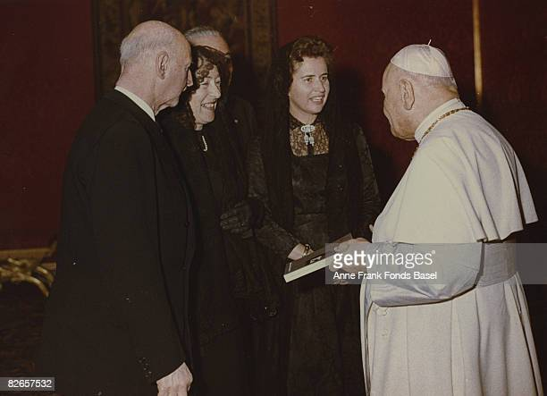 Otto Frank father of Anne Frank visits the Pope with his second wife Fritzi 1963