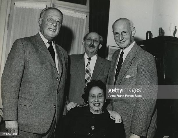 Otto Frank father of Anne Frank with his brother Herbert his sister Helene 'Leni' EliasFrank and her husband Erich Elias circa 1965