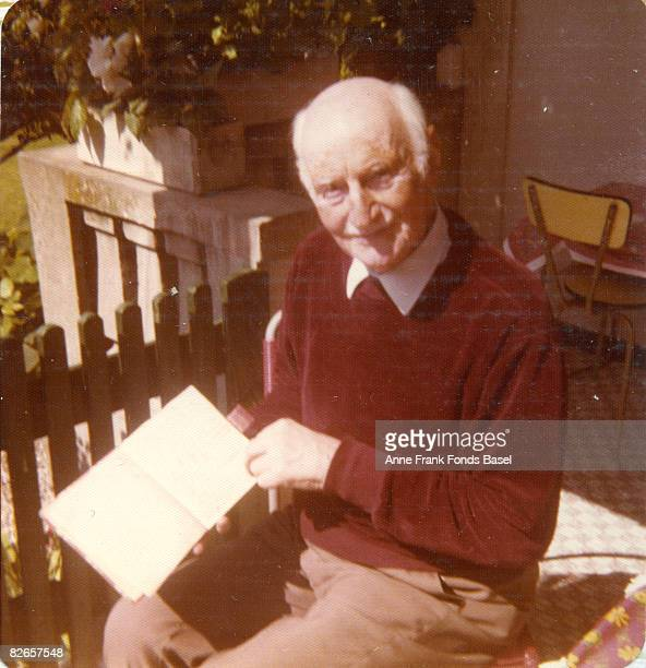 Otto Frank father of Anne Frank with his daughter's famous diary circa 1975
