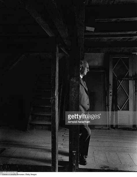 Otto Frank father of German diarist Anne Frank stands in a dark room inside Anne Frank House Amsterdam the Netherlands May 1 1960