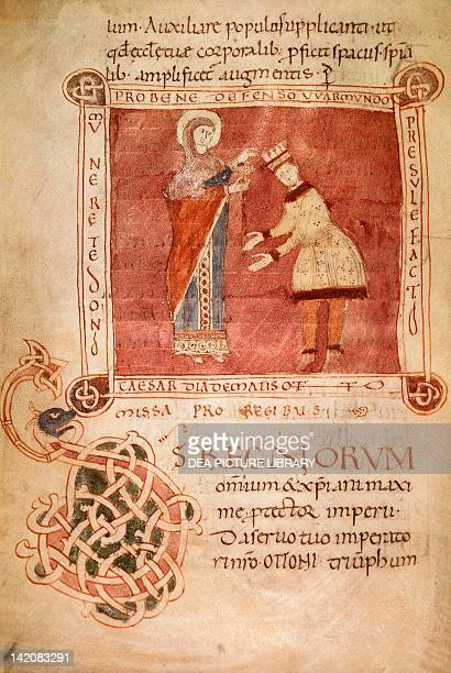 Otto I crowned by the Virgin Mary, miniature from the Sacramentary of Bishop Warmondo, manuscript, Italy 10th Century.