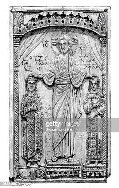 Otto II and his wife Theophano are blessed by Christ, ivory carving on a box, reliquary, at the Hotel Cluny in Paris, France, digital improved...