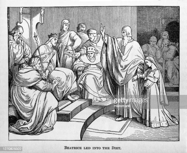 otto iv (holy roman emperor and her future husband) receiving beatrix of swabia as his future wife, 1212. beatrice or beatrix of swabia - king royal person stock pictures, royalty-free photos & images