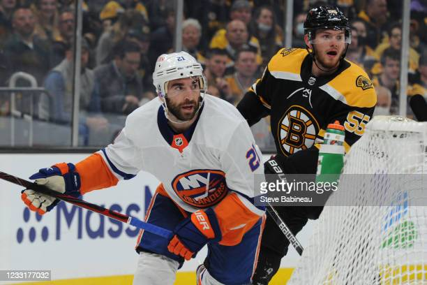 Otto Koivula of the New York Islanders skates against Jeremy Lauzon of the Boston Bruins in Game One of the Second Round of the 2021 Stanley Cup...