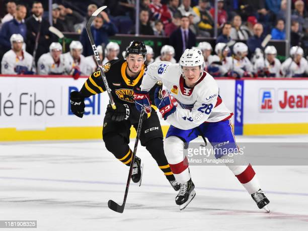Otto Leskinen of the Laval Rocket skates against the Providence Bruins at Place Bell on October 16 2019 in Laval Canada The Laval Rocket defeated the...