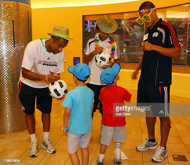 Otto Loewy Kevin Alston and Alan Koger of the New England Revolution visit with Oliver and Ian while bringing sunshine to Children's Hospital Boston...