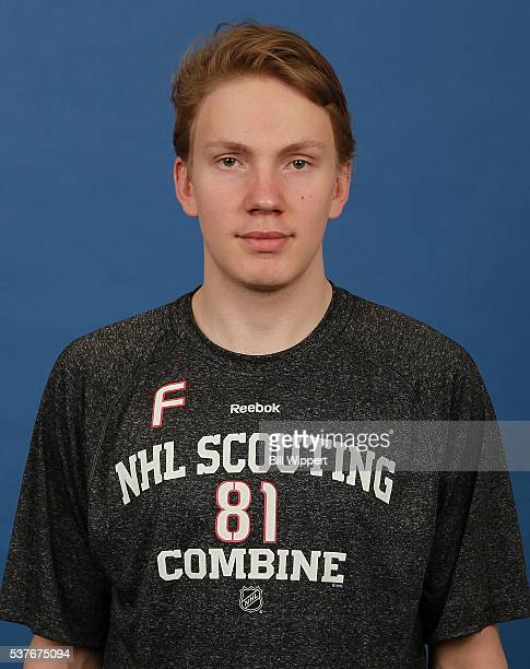 Otto Makinen poses for a headshot at the 2016 NHL Combine on June 2 2016 at Harborcenter in Buffalo New York
