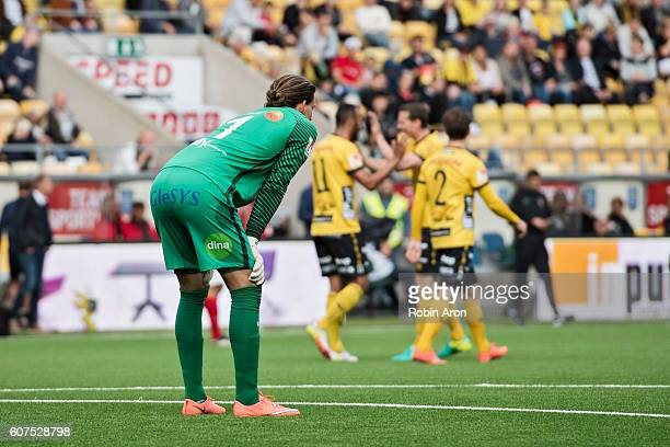 Otto Martler goalkeeper of Falkenbergs FF dejected after a blunder who gave  Elfsborg the score 40 ed9cef1000be0