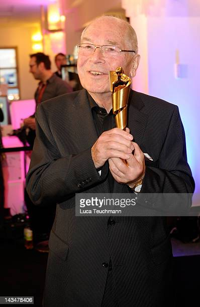 Otto Mellies poses with his award at the Lola - German Film Award 2012 - Winners Board at Friedrichstadt-Palast on April 27, 2012 in Berlin, Germany.