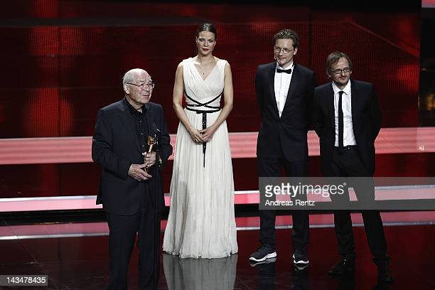 """Otto Mellies speaks onstage after receiving the """"Best Supporting Role Male"""" Award at the Lola - German Film Award 2012 -Show at Friedrichstadt-Palast..."""