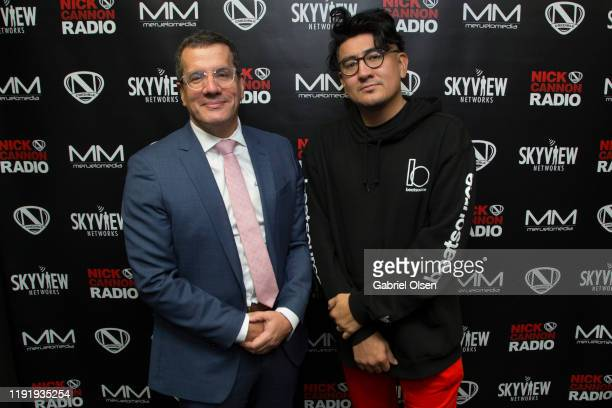 Otto Padron and Disco Drew attend Nick Cannon Meruelo Media Skyview Announce Radio Syndication on December 04 2019 in Burbank California