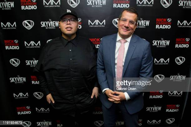 Otto Padron and Teddy Mora attend Nick Cannon Meruelo Media Skyview Announce Radio Syndication on December 04 2019 in Burbank California