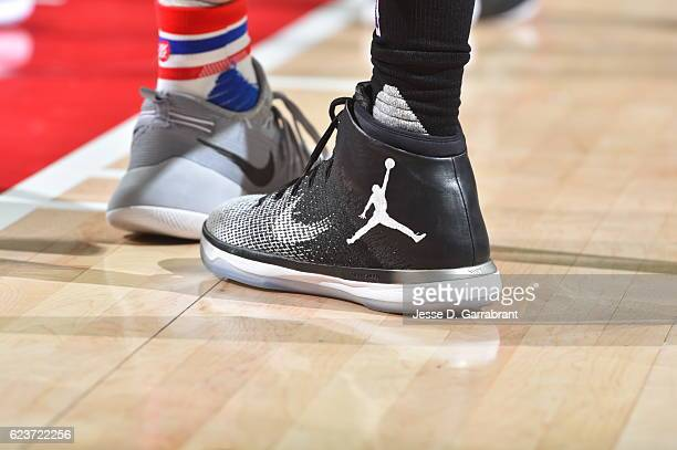 Otto Porter Jr #22 of the a Washington Wizards showcases his Jordan brand sneakers against the Philadelphia 76ers during a game at the Wells Fargo...