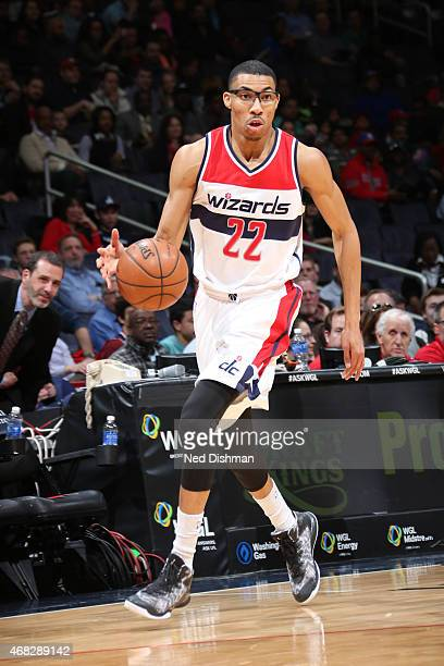 Otto Porter Jr #22 of the Washington Wizards brings the ball up court against the Philadelphia 76ers on April 1 2015 at the Verizon Center in...