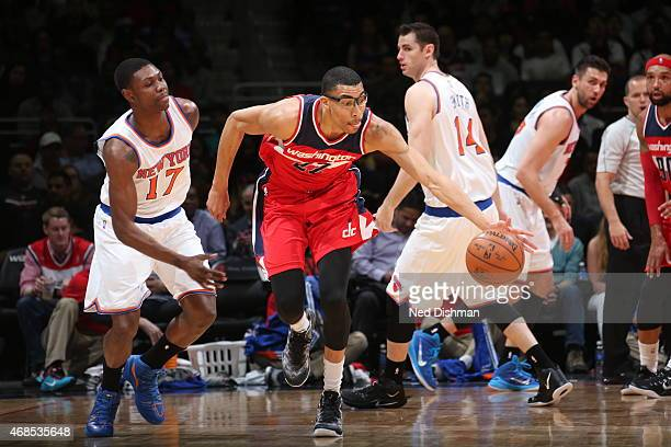 Otto Porter Jr #22 of the Washington Wizards brings the ball up court against Cleanthony Early of the New York Knicks on April 3 2015 at the Verizon...