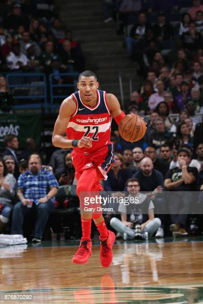 Otto Porter Jr #22 of the Washington Wizards brings the ball up court against the Milwaukee Bucks on November 20 2017 at the BMO Harris Bradley...