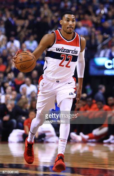 Otto Porter Jr #22 of the Washington Wizards dribbles the ball during the first half of an NBA game at Air Canada Centre against the Toronto Raptors...