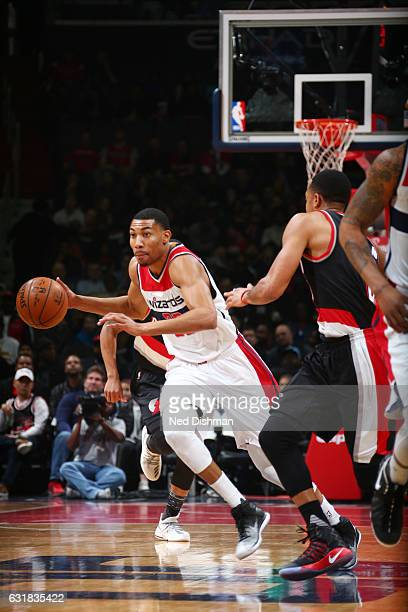 Otto Porter Jr #22 of the Washington Wizards drives to the basket against the Portland Trail Blazers during the game on January 16 2017 at Verizon...