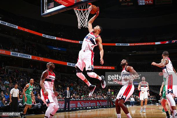 Otto Porter Jr #22 of the Washington Wizards dunks against the Boston Celtics during the game on November 9 2016 at Verizon Center in Washington DC...