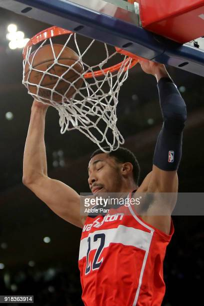 Otto Porter Jr #22 of the Washington Wizards dunks the ball in the first quarter against the New York Knicks during their game at Madison Square...