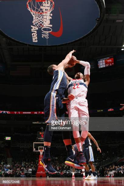Otto Porter Jr #22 of the Washington Wizards goes to the basket against the Memphis Grizzlies on December 13 2017 at Capital One Arena in Washington...