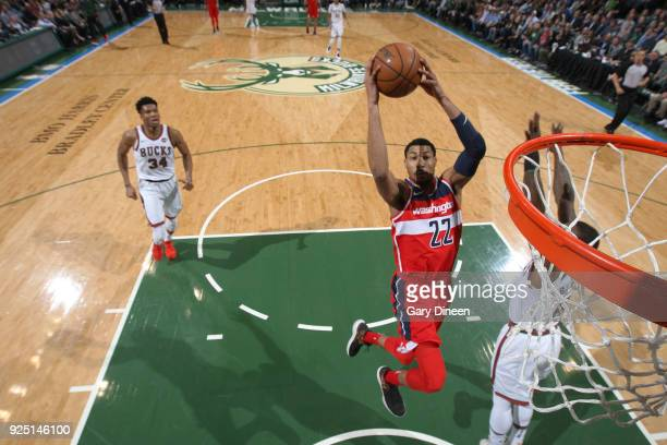 Otto Porter Jr #22 of the Washington Wizards goes to the basket against the Milwaukee Bucks on February 27 2018 at the BMO Harris Bradley Center in...