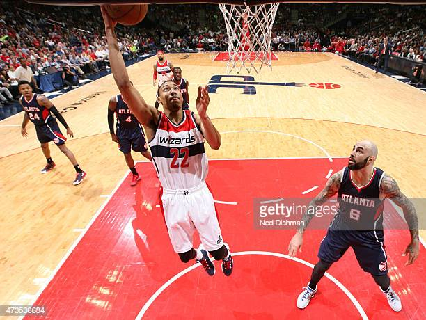 Otto Porter Jr #22 of the Washington Wizards goes up for a shot against the Atlanta Hawks in Game Six of the Eastern Conference Semifinals of the...