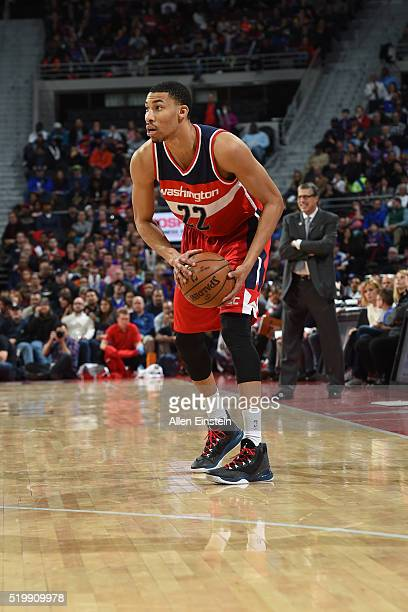 Otto Porter Jr #22 of the Washington Wizards handles the ball against the Detroit Pistons on April 8 2016 at The Palace of Auburn Hills in Auburn...