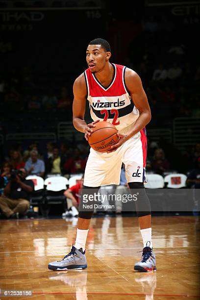 Otto Porter Jr #22 of the Washington Wizards handles the ball against the Miami Heat during a preseason game on October 4 2016 at Verizon Center in...