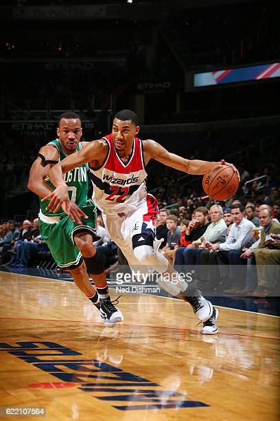Otto Porter Jr #22 of the Washington Wizards handles the ball against Avery Bradley of the Boston Celtics during the game on November 9 2016 at...