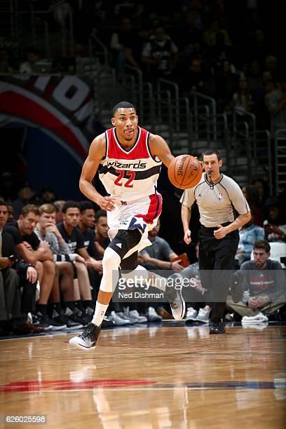 Otto Porter Jr #22 of the Washington Wizards handles the ball against the San Antonio Spurs on November 26 2016 at Verizon Center in Washington DC...