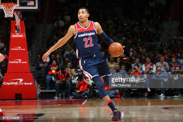 Otto Porter Jr #22 of the Washington Wizards handles the ball against the Portland Trail Blazers on November 25 2017 at Capital One Arena in...