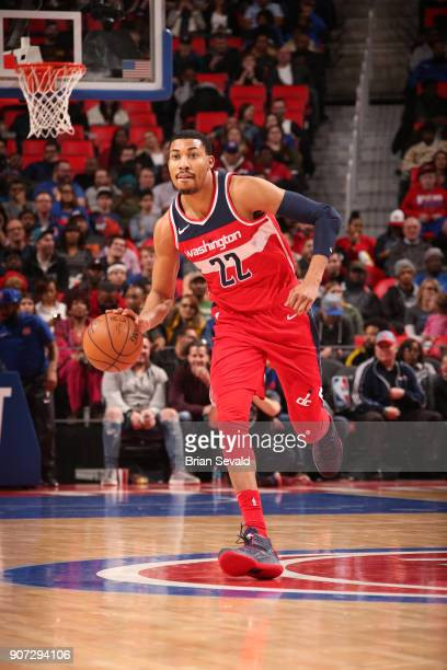 Otto Porter Jr #22 of the Washington Wizards handles the ball against the Detroit Pistons on January 19 2018 at Little Caesars Arena in Detroit...
