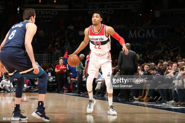 Otto Porter Jr #22 of the Washington Wizards handles the ball against the Minnesota Timberwolves on March 13 2018 at Capital One Arena in Washington...