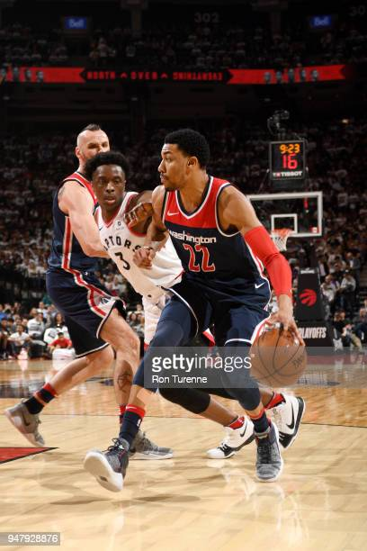 Otto Porter Jr #22 of the Washington Wizards handles the ball against the Toronto Raptors in Game Two of Round One of the 2018 NBA Playoffs on April...