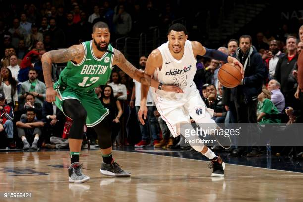 Otto Porter Jr #22 of the Washington Wizards handles the ball during the game against the Boston Celtics on February 8 2018 at Capital One Arena in...