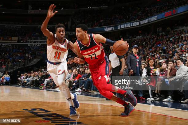 Otto Porter Jr #22 of the Washington Wizards handles the ball during the game against the New York Knicks on March 25 2018 at the Capital One Arena...