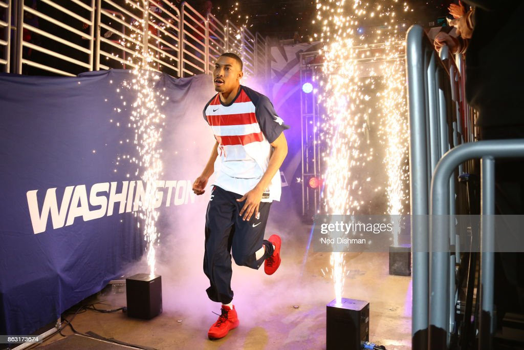 Otto Porter Jr. #22 of the Washington Wizards is introduced before the game against the Philadelphia 76ers on October 18, 2017 at Capital One Arena in Washington, DC.