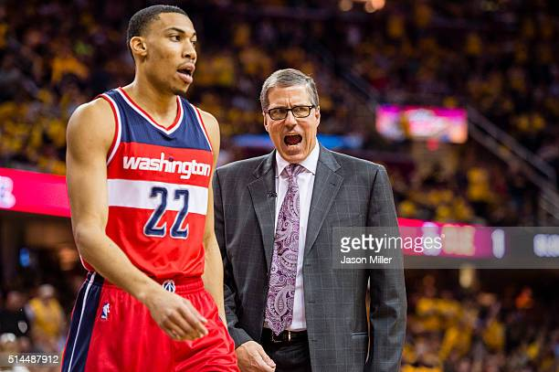 Otto Porter Jr #22 of the Washington Wizards listens to head coach Randy Wittman during the first half against the Cleveland Cavaliers at Quicken...