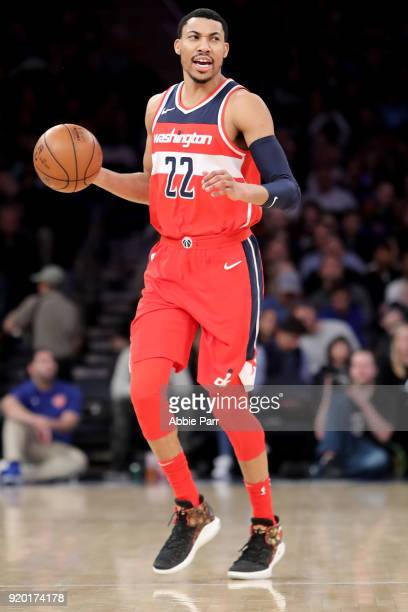 Otto Porter Jr #22 of the Washington Wizards looks down the court in the first half against the New York Knicks during their game at Madison Square...
