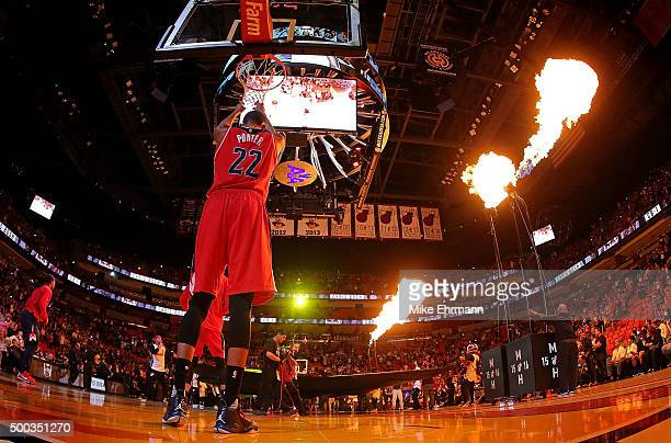 Otto Porter Jr #22 of the Washington Wizards looks on during a game against the Miami Heat at American Airlines Arena on December 7 2015 in Miami...