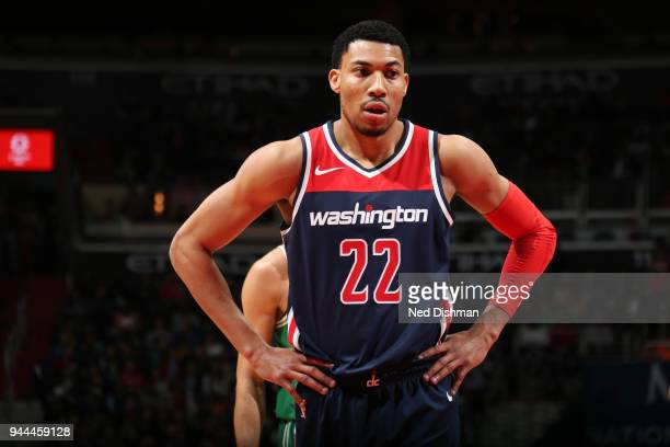 Otto Porter Jr #22 of the Washington Wizards looks on during the game against the Boston Celtics on April 10 2018 at Capital One Arena in Washington...