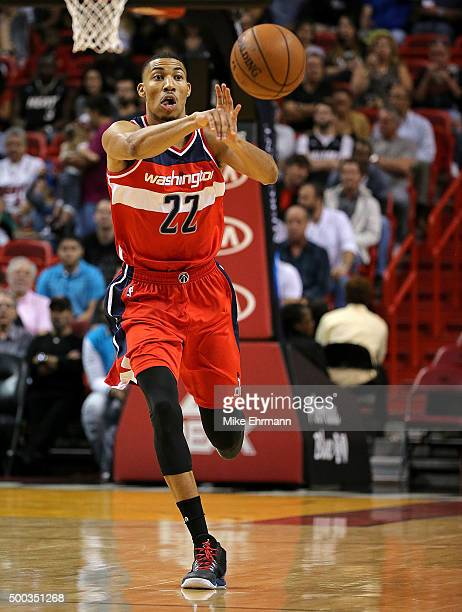 Otto Porter Jr #22 of the Washington Wizards passes during a game against the Miami Heat at American Airlines Arena on December 7 2015 in Miami...
