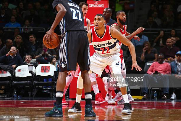 Otto Porter Jr #22 of the Washington Wizards plays defense against Andrew Wiggins of the Minnesota Timberwolves on January 6 2017 at Verizon Center...